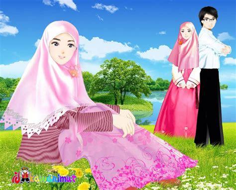 wallpaper couple jepang gambar kartun islami muslim dan muslimah romantis katakan id