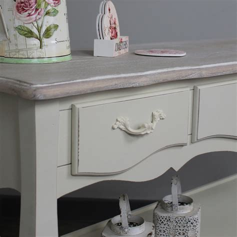 console table with drawers and shelves belfort range cream console table with three drawers and