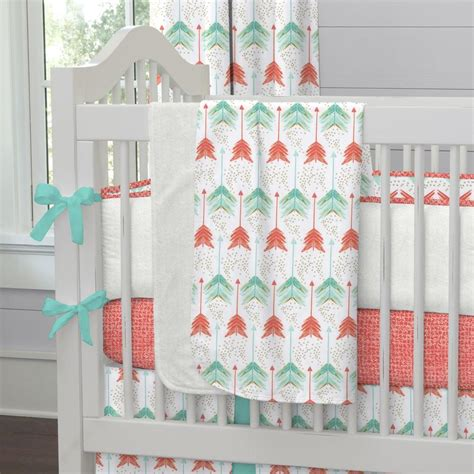 arrow bedding coral and teal arrow crib bedding carousel designs