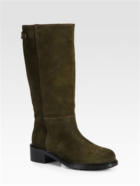 flat suede shoes vince jocelyn suede flat boots in green lyst