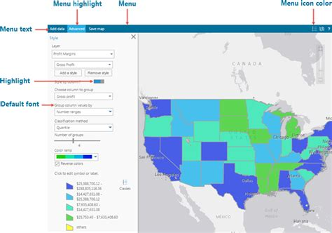 map layout elements configure map settings and tools esri maps for ibm cognos