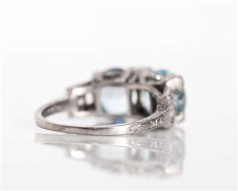 1920s deco platinum two aquamarine and