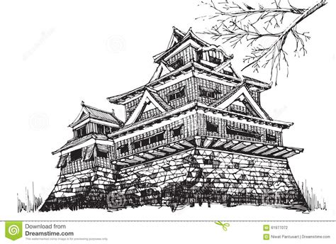 osaka castle coloring page japanese castle clipart clipground