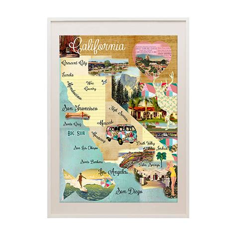california map poster vintage california map collage poster print on wooden by