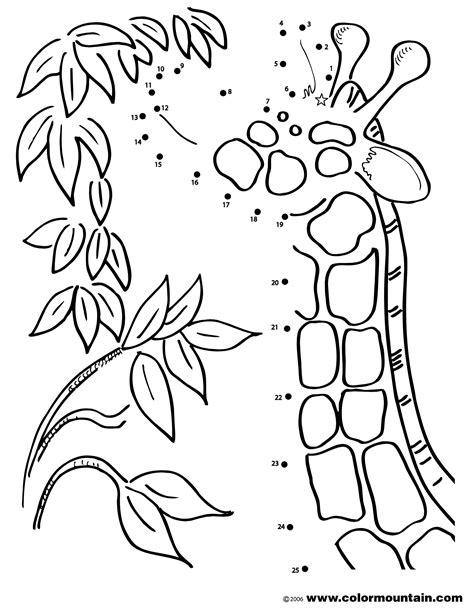 giraffe eating coloring pages giraffe dot to dot coloring sheet create a printout or