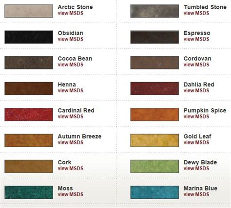 color chart features h and c semi transparent decorative stains for concrete water based