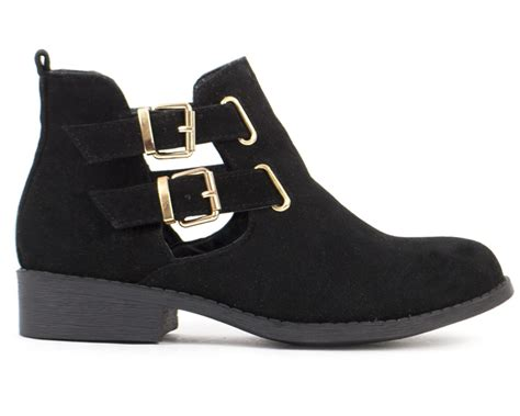womens leather suede cut out buckle low heel