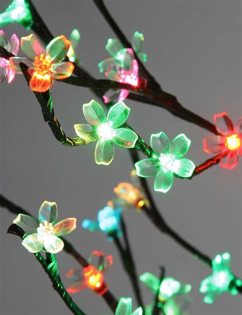 cherry blossom flowers color changing light tree