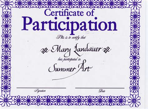 printable certificate of participation templates save sample