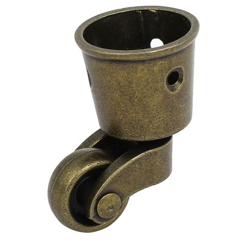 1 Inch Wheel Dia Swivel Round Cup Caster Bronze Tone For Swivel Chair Casters