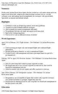 Hotel Reservations Sle Resume by Professional Airline Reservation Templates To Showcase Your Talent Myperfectresume