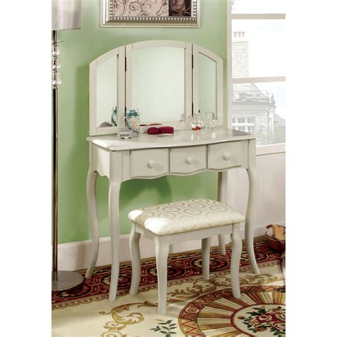 White Vanity Set For Bedroom | furniture of america lerraine bedroom vanity set white