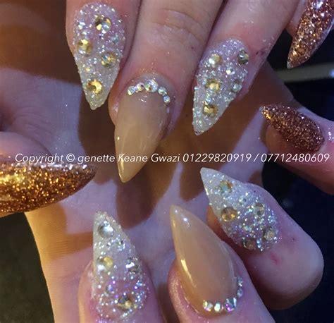 Bling Bling Rosegold swarovski rhinestone bling bling acrylic nails