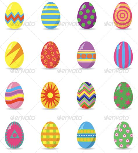 16 different easter eggs graphicriver