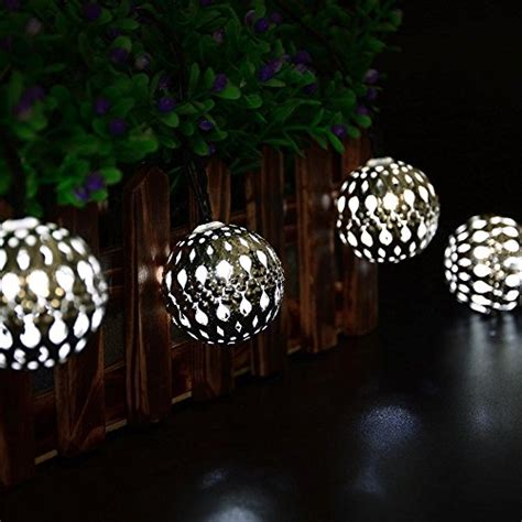 icicle solar moroccan ball string lights 11ft 10 led