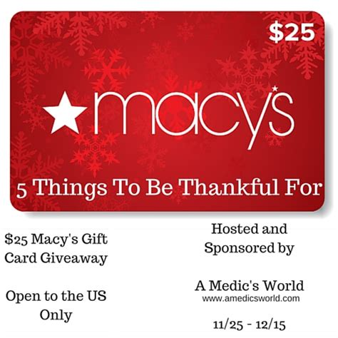 Gift Card Giveaway 2015 - 25 macy s gift card giveaway ends 12 15