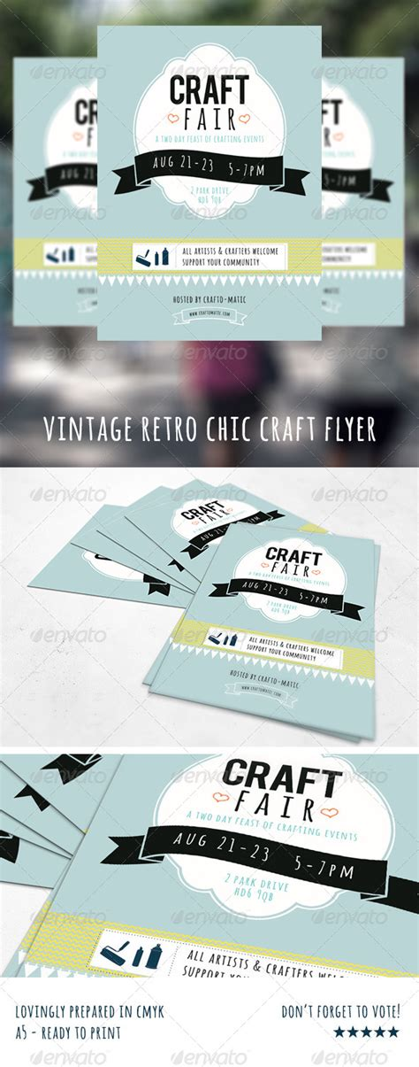 free templates for a5 flyers vintage retro craft fair a5 flyer retro crafts event