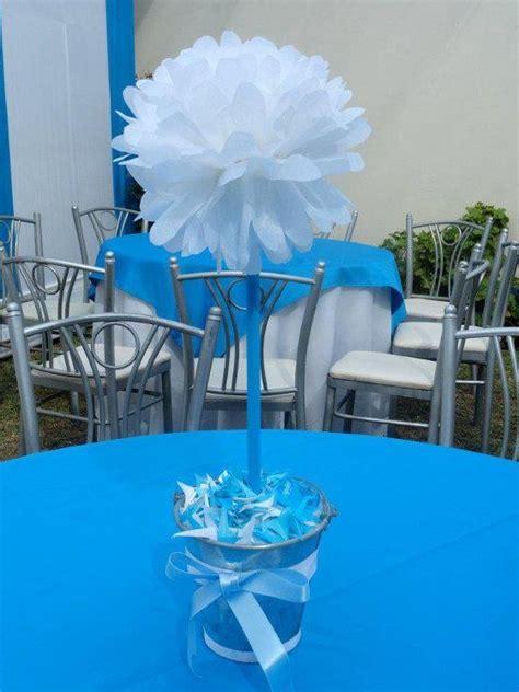 decoraciones baby shower o bautizo bautismo imagui topiario de pompom blanco decorado con celeste para bautizo o baby shower baby showers