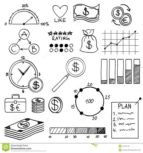 doodle element guide draw doodle elements money and coin icon stock photo