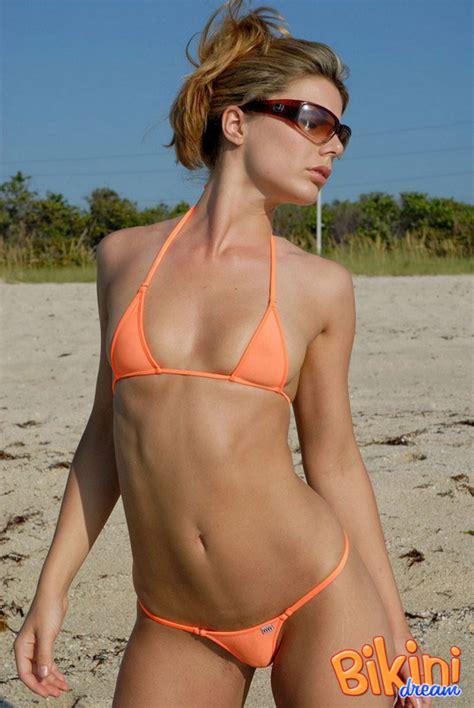Sexy Blonde Amber In Her Tiny Orange Bikini Pichunter
