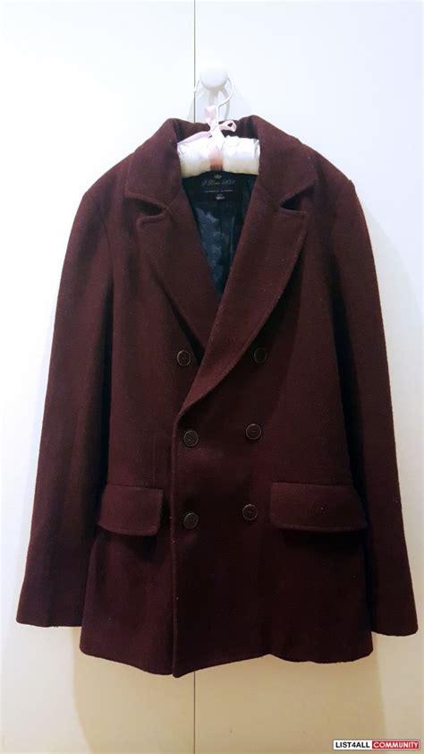 H Jaket List Maroon h81 wool maroon pea coat jacket s dollcena