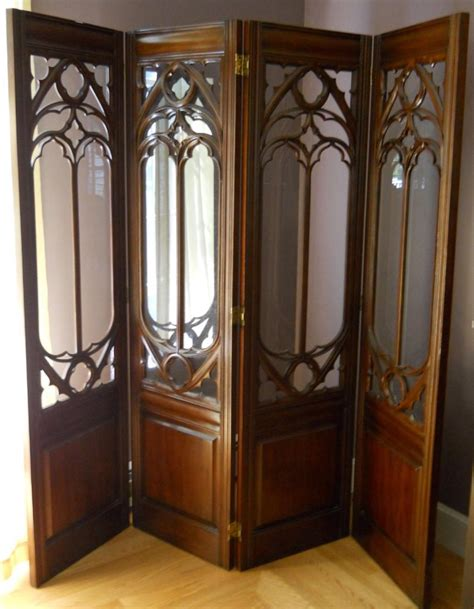 Vintage Room Divider Vintage 4 Panel Glass Wood Architectural Room Divider Mahogany Carved Inserts Ebay
