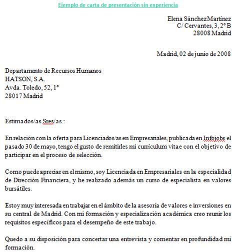 Carta Muestra De Interes ejemplo de carta de presentaci 243 n experiencia ejemplos de carta