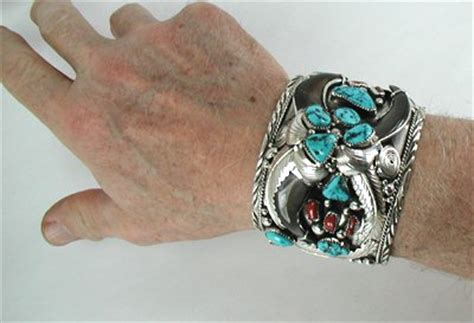 navajo bear claw bracelet wide and heavy with turquoise