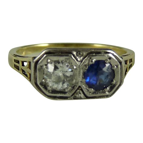 vintage deco 14k white and yellow gold and