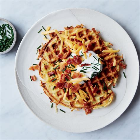 top 40 waffle recipes the yummiest savory and sweet waffles books loaded potato waffles recipe justin chapple food wine
