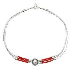 La Perle Shuma Termos 1000 Ml Silver collier 3 fils et choker corail