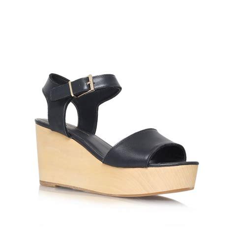 wedge sandals black kg kurt geiger nia high heel wedge sandals in black lyst