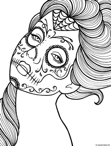 day of the dead art coloring pages free printable day of the dead coloring book page by