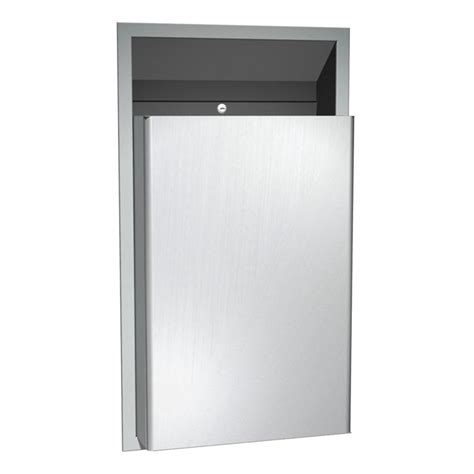asi traditional collection 0458 semi recessed waste bin