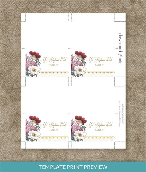 red poppy place card template download print