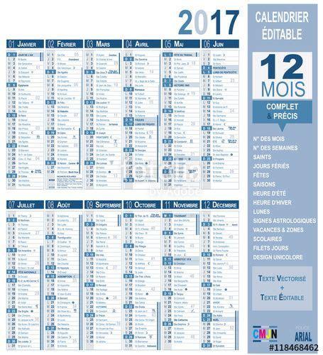 Calendrier Saints Calendrier Vectoriel 2017 Complet Et Pr 233 Cis Saints Lunes