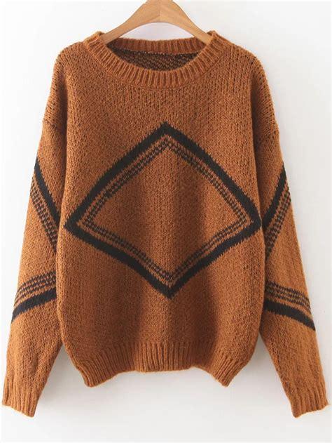 pattern sweaters tumblr khaki diamond pattern drop shoulder sweaterfor women romwe