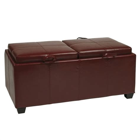 storage ottoman tray office star metro storage bench w trays red faux leather