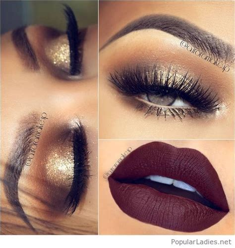 gold glitter eye makeup  brown matte lips
