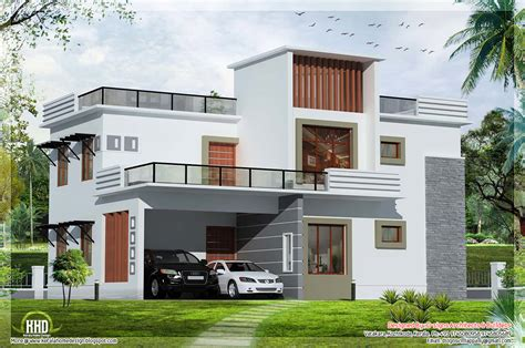 kerala home design flat roof elevation nanopics pictures 2400 sq feet double floor indian house plan