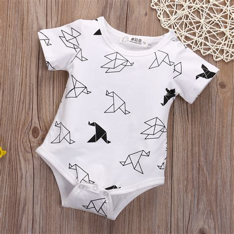 Origami Baby Clothes - newborn baby boy origami birds rompers jumpsuit