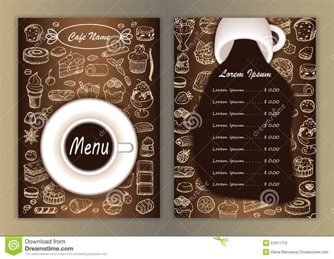 design banner cafe cafe menu with hand drawn doodle elements stock vector