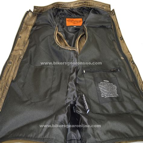 motorcycle gear online men s distressed brown leather motorcycle club vest