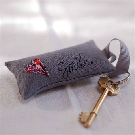 Handmade Keyring - handmade grey linen key ring by handmade at poshyarns