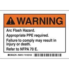 Brady Part El 1 Warning Arc Flash Warning Labels Arc Flash Label Template