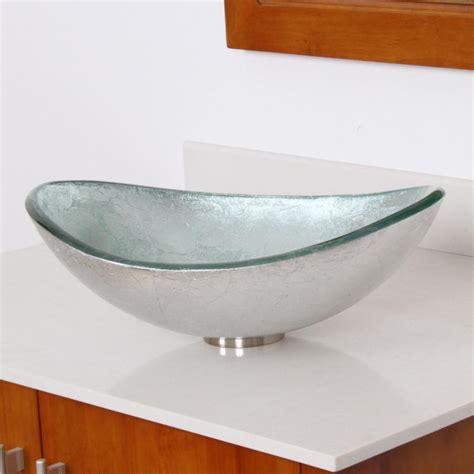 Artistic Brass Faucet Parts Unique Oval Artistic Silver Bathroom Glass Vessel Sink
