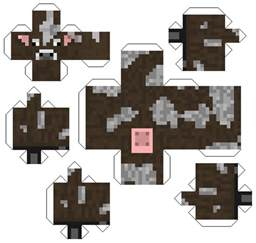 minecraft cow printable papercraft cutout character