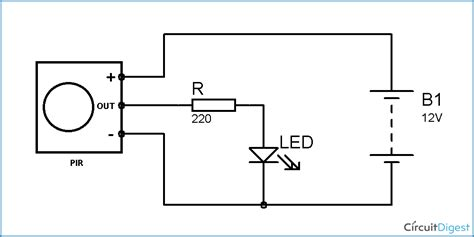 pir sensor based motion detector sensor circuit diagram
