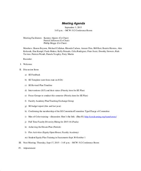 template official meeting minutes template