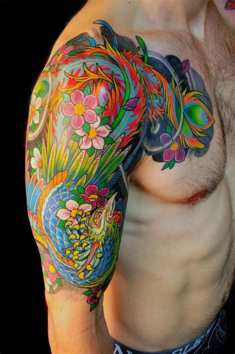 colored arm tattoo bright color phoenix tattoo on arm ideas tattoo collection